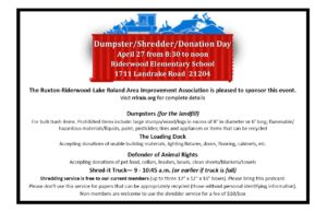 Dumpster/Shredder/Donation Day @ Riderwood Elementary School